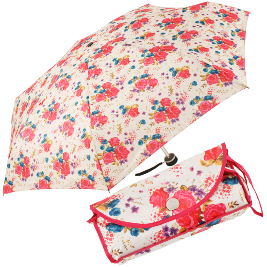 Mini Floral Folding Umbrella with Case by Cachemir - Pink