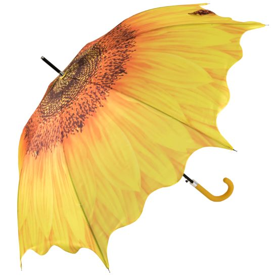 Full Canopy Flower Walking Length Umbrella - Sunflower