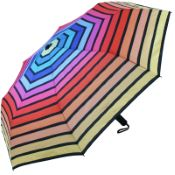 Horizontal Rainbow Auto Open & Close Folding Umbrella by Soake - Yellow Border