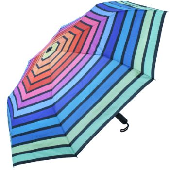 Horizontal Rainbow Auto Open & Close Folding Umbrella by Soake - Green Border