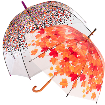 Clear Umbrellas and patterned see-through umbrellas of every shape and size from traditional to dome