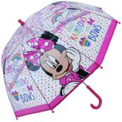 Disney's Minnie Mouse Children's Clear Dome Umbrella - Rainbows & Bows