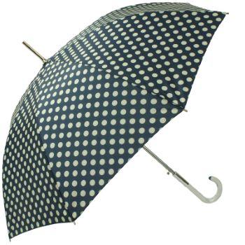 Polkadot Auto Open Walking Length Umbrella - Navy Blue