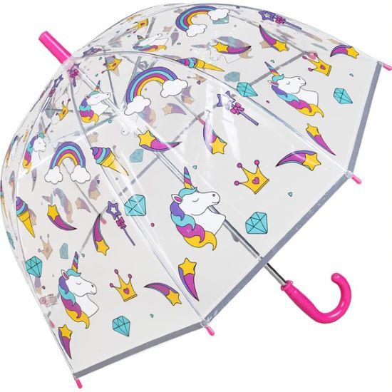 Susino Children's See-Through Dome Umbrella - Unicorns & Rainbows