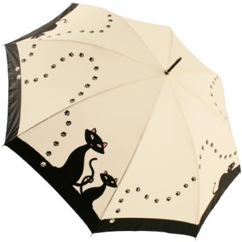 Black Cats Art Print Walking Length Umbrella