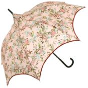 Charme - Pink Floral Scalloped Walking Length Umbrella by Guy de Jean