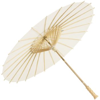Chinese Paper and Bamboo Parasol with Elegant Handle - Ivory