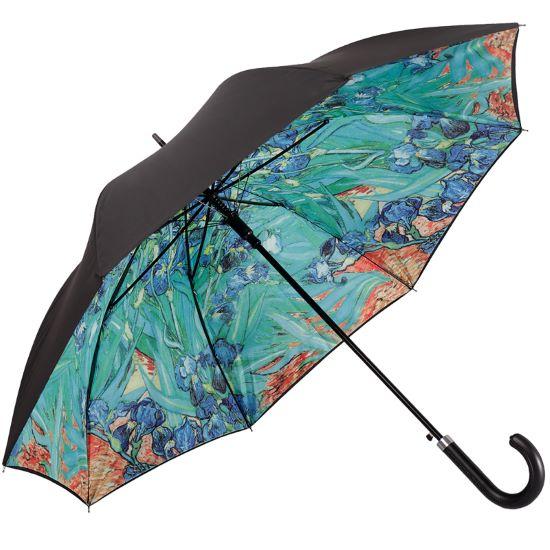Double Canopy Walking Length Umbrella - Irises by Van Gogh