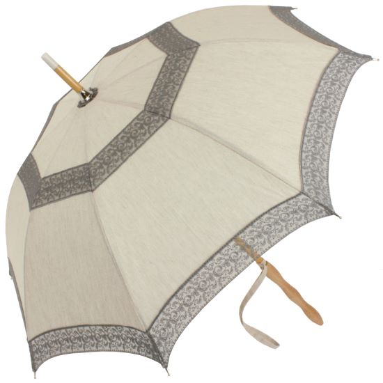 Eleonore - UVP Beige Parasol with Grey Curl Lace Bands by Pierre Vaux