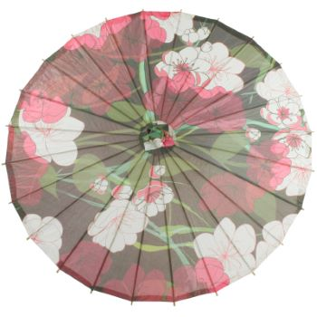 Premium Chinese Paper and Bamboo Parasol - Midnight Summer Cherry Blossom