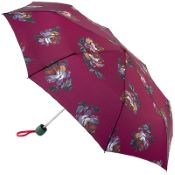 Joules Minilite Folding Umbrella - Heritage Peony Berry