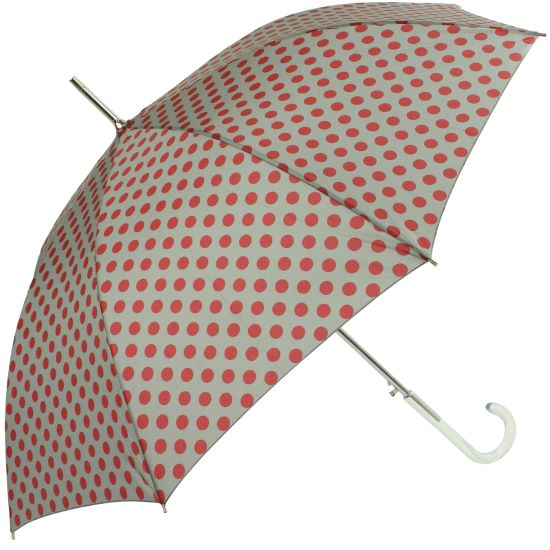 Polkadot Auto Open Walking Length Umbrella - Burgundy on Grey