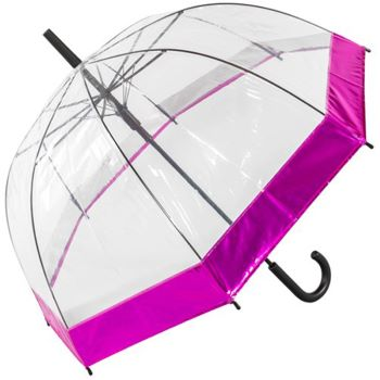 Susino See-Through Dome Umbrella with Metallic Border - Pink