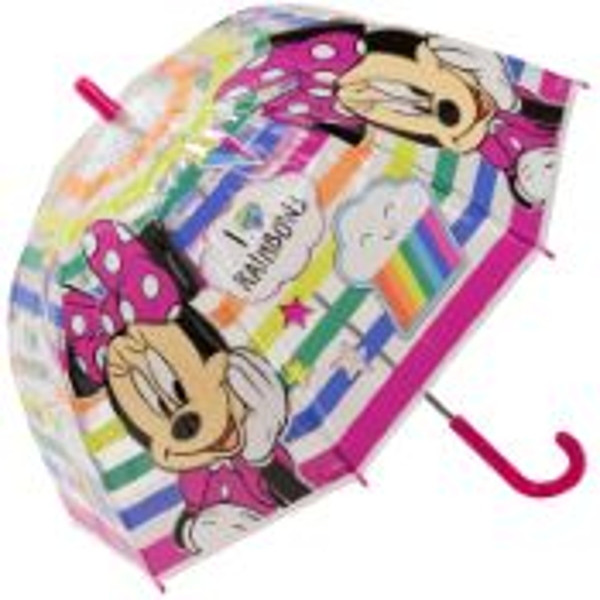 Disney's Minnie Mouse Children's Clear Dome Umbrella - I Love Rainbows