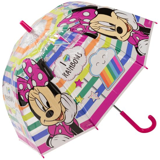 Disney's Minnie Mouse Children's Clear Dome Umbrella - I Love Rainbows