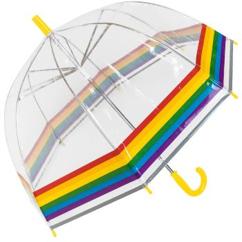 Susino Children's See-Through Dome Umbrella - Rainbow Border (with Yellow Handle)