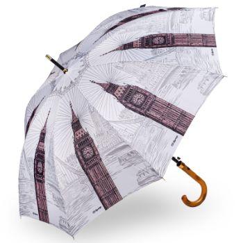 """Soake Galleria Black /& White /"""" London /"""" Automatic Folding Umbrella in Gift Box"""
