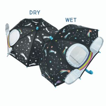 3D Peek-a-boo Colour Changing Kids Umbrella - Astronaut in Space