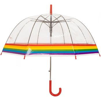 Susino Adult Clear Dome Umbrella - Rainbow Border (with Red Handle)