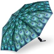 Stormking Automatic Open & Close Folding Umbrella - Nature Collection - Peacock Feathers