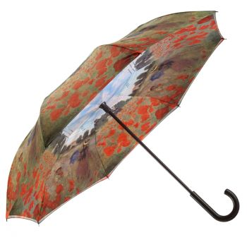 Galleria Art Print Reverse Umbrella - Monet Poppy Field