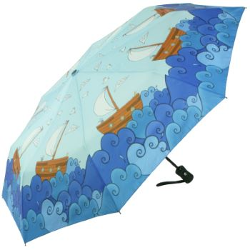 Laura Wall Auto Open & Close Folding Umbrella - Boats