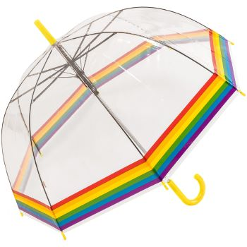 Susino Adult Clear Dome Umbrella - Rainbow Border (with Yellow Handle)