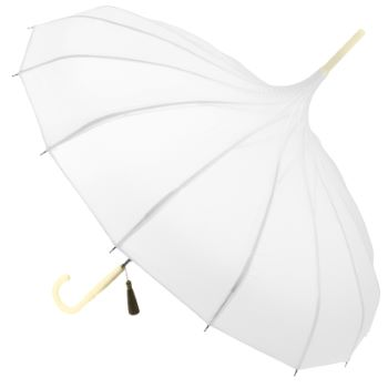 Classic Pagoda Umbrella from Soake - White with Cream Handle