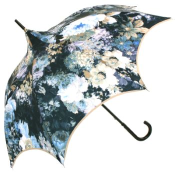 Charme - Painterly Blue & Cream Floral Scalloped Walking Length Umbrella by Guy de Jean