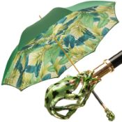 Bellezza Luxury Double Canopy Umbrella with Enamelled Frog Handle by Pasotti