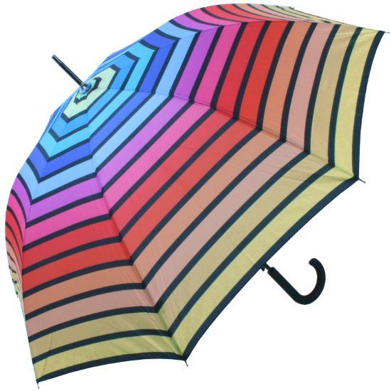 Horizontal Rainbow Walking Length Umbrella by Soake - Yellow Border