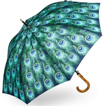 Stormking Classic Walking Length Umbrella - Nature Collection - Peacock Feathers