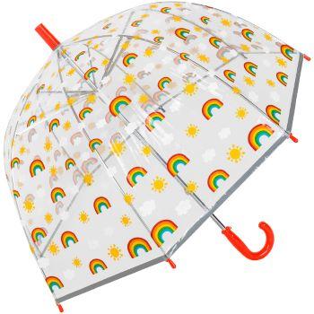 Susino Children's See-Through Dome Umbrella - Rainbows (with Red Handle)