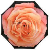 Reverse Auto Open & Close Folding Umbrella - Pink Rose