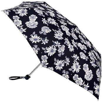 Fulton Miniflat Lightweight Folding Umbrella - Black & White Floral
