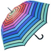 Horizontal Rainbow Walking Length Umbrella by Soake - Green Border