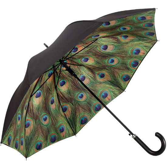 Double Canopy Walking Length Umbrella - Peacock Feathers
