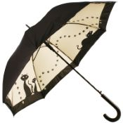 Black Cats Double Canopy Art Print Walking Length Umbrella