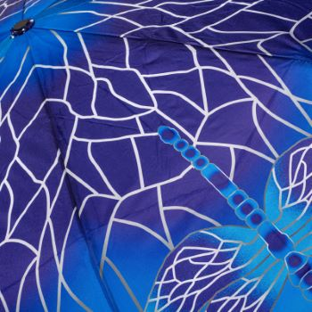 Stormking Automatic Open & Close Folding Umbrella - Nature Collection - Blue Stained Glass Dragonfly