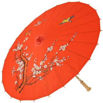 Chinese Paper and Bamboo Parasol - Red Cherry Blossom
