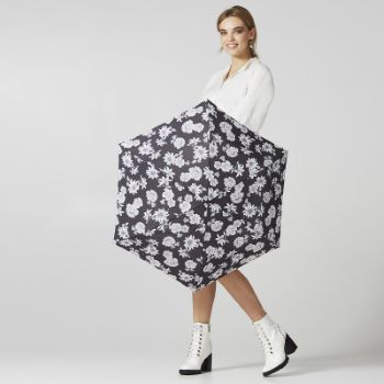 Fulton Miniflat Lightweight Folding Umbrella - Black & White Floral