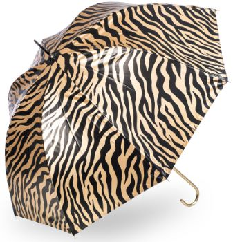 Soake Metallic Dome UV Protective Umbrella - Golden Zebra