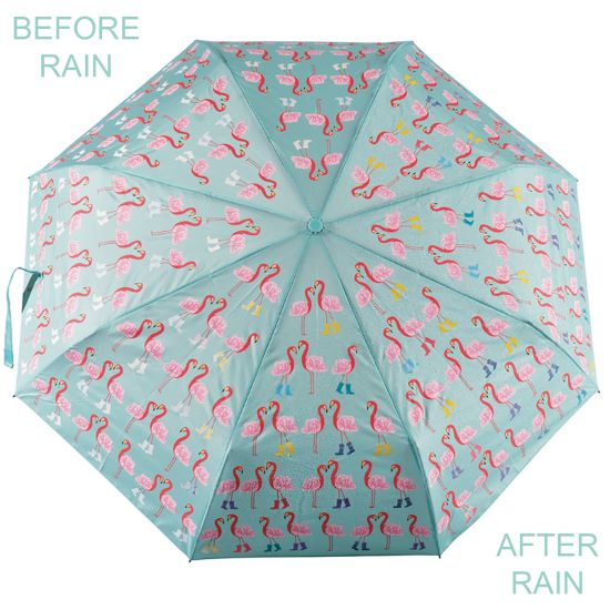 Colour Changing 'Big Kids' Folding Umbrella - Flamingo