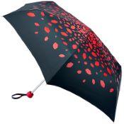 Lulu Guinness Minilite Folding Umbrella - Raining Lips Red