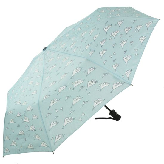 Laura Wall Auto Open & Close Folding Umbrella - Clouds
