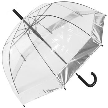 Susino See-Through Dome Umbrella with Metallic Border - Silver