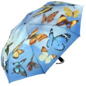Galleria Art Print Auto Open & Close Folding Umbrella - Swirling Butterflies