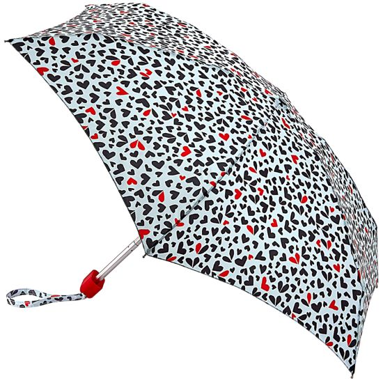 Lulu Guinness Tiny Folding Umbrella - Cut Out Hearts