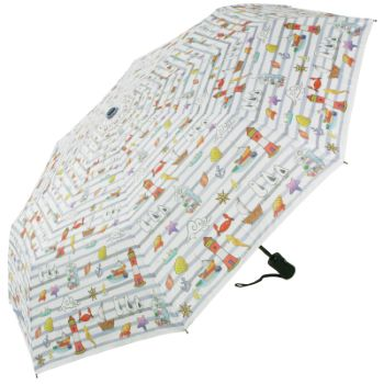 Laura Wall Auto Open & Close Folding Umbrella - Stripes